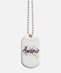 Amaris Artistic Name Design with Flowers Dog Tags