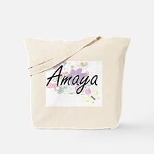Amaya Artistic Name Design with Flowers Tote Bag