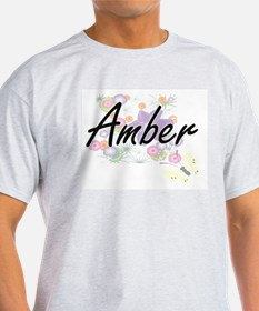 Amber Artistic Name Design with Flowers T-Shirt