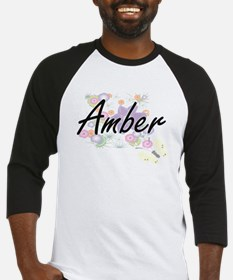 Amber Artistic Name Design with Fl Baseball Jersey