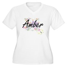Amber Artistic Name Design with Plus Size T-Shirt
