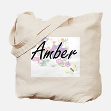 Amber Artistic Name Design with Flowers Tote Bag