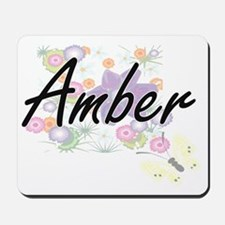 Amber Artistic Name Design with Flowers Mousepad