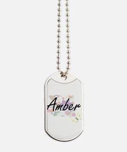 Amber Artistic Name Design with Flowers Dog Tags