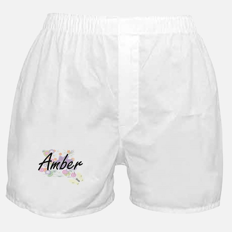 Amber Artistic Name Design with Flowe Boxer Shorts