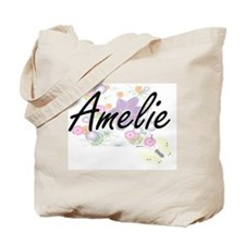 Amelie Artistic Name Design with Flowers Tote Bag