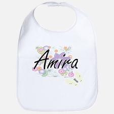 Amira Artistic Name Design with Flowers Bib