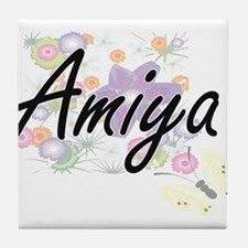 Amiya Artistic Name Design with Flowe Tile Coaster