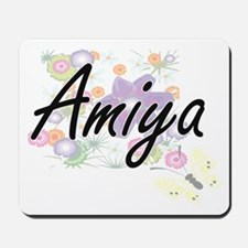 Amiya Artistic Name Design with Flowers Mousepad