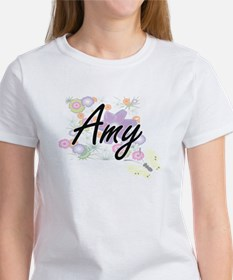 Amy Artistic Name Design with Flowers T-Shirt