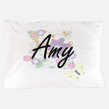 Amy Artistic Name Design with Flowers Pillow Case