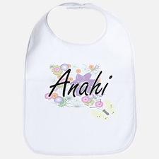 Anahi Artistic Name Design with Flowers Bib