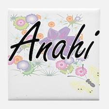 Anahi Artistic Name Design with Flowe Tile Coaster