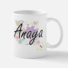 Anaya Artistic Name Design with Flowers Mugs