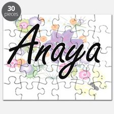 Anaya Artistic Name Design with Flowers Puzzle