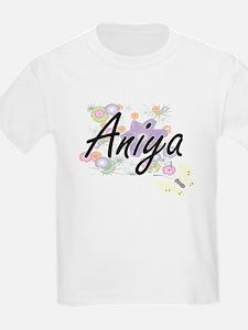 Aniya Artistic Name Design with Flowers T-Shirt