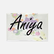 Aniya Artistic Name Design with Flowers Magnets