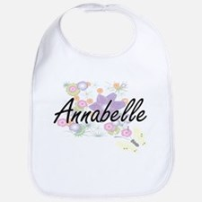 Annabelle Artistic Name Design with Flowers Bib