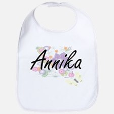Annika Artistic Name Design with Flowers Bib