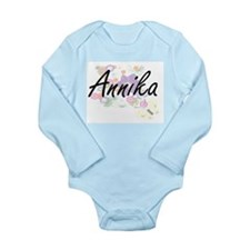 Annika Artistic Name Design with Flowers Body Suit