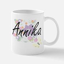 Annika Artistic Name Design with Flowers Mugs