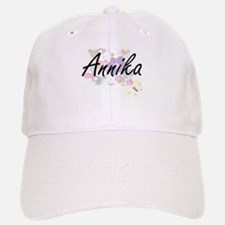 Annika Artistic Name Design with Flowers Baseball Baseball Cap