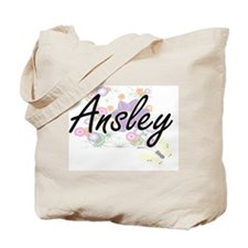 Ansley Artistic Name Design with Flowers Tote Bag