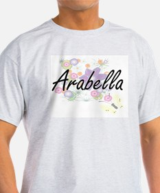 Arabella Artistic Name Design with Flowers T-Shirt