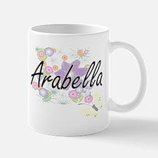 Arabella Artistic Name Design with Flowers Mugs