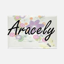 Aracely Artistic Name Design with Flowers Magnets