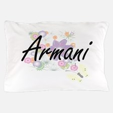 Armani Artistic Name Design with Flowe Pillow Case