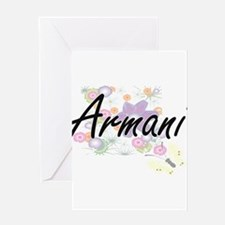 Armani Artistic Name Design with Fl Greeting Cards