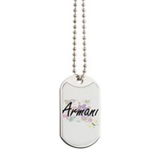 Armani Artistic Name Design with Flowers Dog Tags