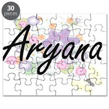 Aryana Artistic Name Design with Flowers Puzzle