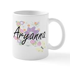 Aryanna Artistic Name Design with Flowers Mugs