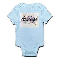 Ashleigh Artistic Name Design with Flowe Body Suit