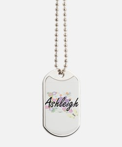 Ashleigh Artistic Name Design with Flower Dog Tags
