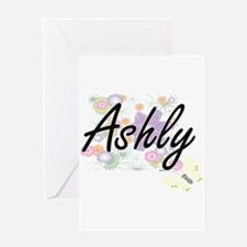 Ashly Artistic Name Design with Flo Greeting Cards