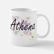 Athena Artistic Name Design with Flowers Mugs