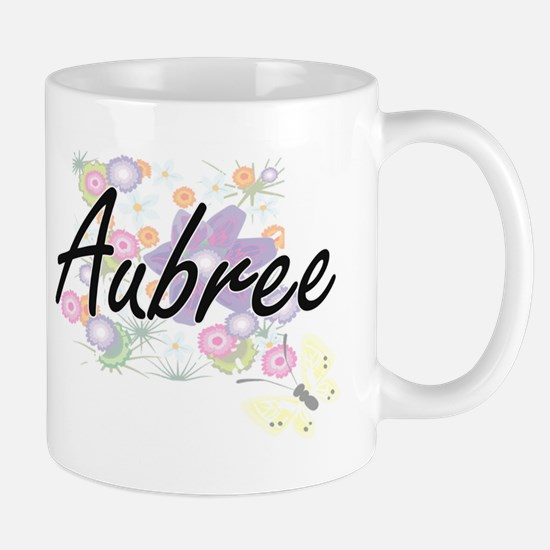 Aubree Artistic Name Design with Flowers Mugs