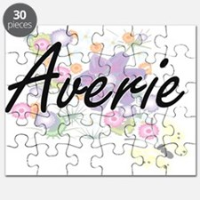 Averie Artistic Name Design with Flowers Puzzle