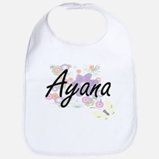 Ayana Artistic Name Design with Flowers Bib