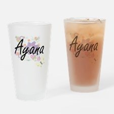 Ayana Artistic Name Design with Flo Drinking Glass