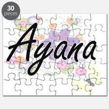 Ayana Artistic Name Design with Flowers Puzzle