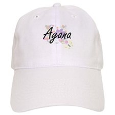 Ayana Artistic Name Design with Flowers Cap