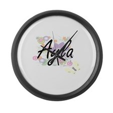 Ayla Artistic Name Design with Fl Large Wall Clock