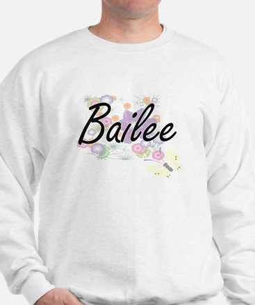 Bailee Artistic Name Design with Flower Sweater