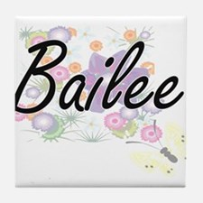 Bailee Artistic Name Design with Flow Tile Coaster