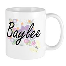 Baylee Artistic Name Design with Flowers Mugs