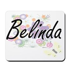 Belinda Artistic Name Design with Flower Mousepad